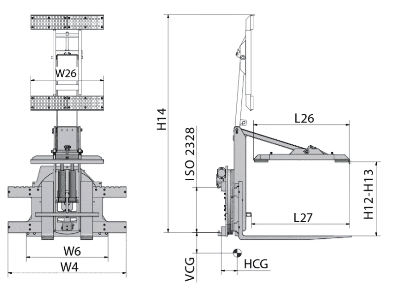 Toyota-Gabelstapler-360° Drehgerät für Behälter RLC Zeichnung