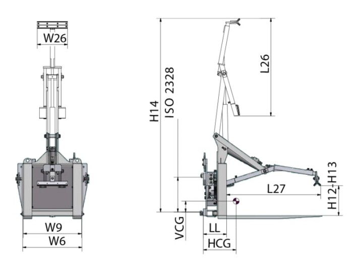 Toyota-Gabelstapler-360° Drehgerät für Behälter RLCA Zeichnung