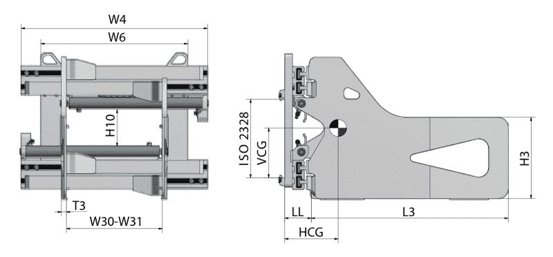Toyota-Gabelstapler-Ballenklammer HB T Zeichnung