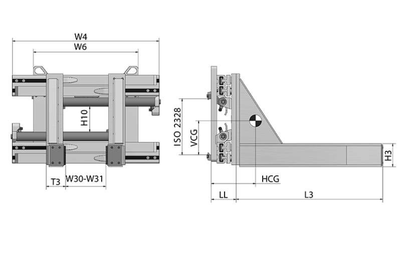 Toyota-Gabelstapler-Betonblockklammern HC Zeichnung