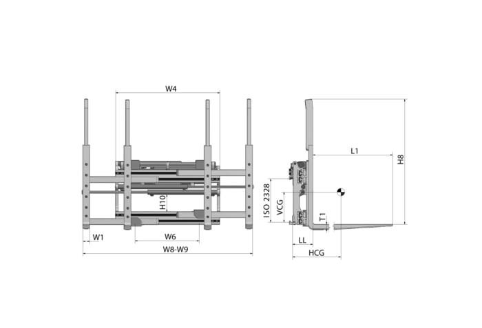 Doppelpalettenklammer DPS Zeichnung