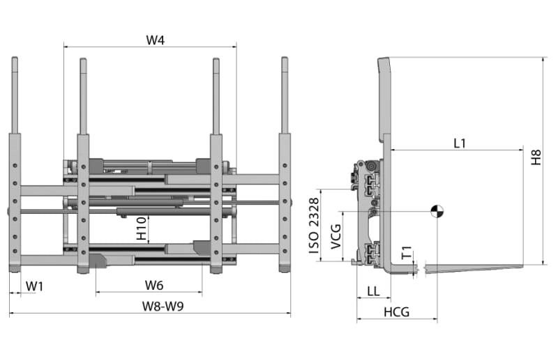 Doppelpalettenklammer / Doppelpalettengeräte DPS Zeichnung