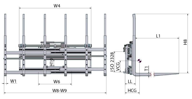 Dreifachpaletten TPS / Palettenklammer TPS Zeichnung