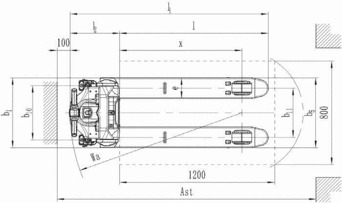 Toyota-Gabelstapler-Hubwagen Tyro LHE130 Zeichnung 2