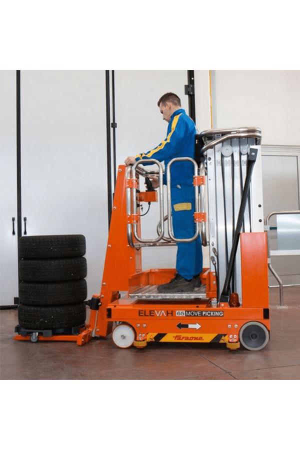 Toyota-Gabelstapler-ITL Lagertechnik Faraone Elevah 65 FL Picking Hebebühne 2 Detailansicht