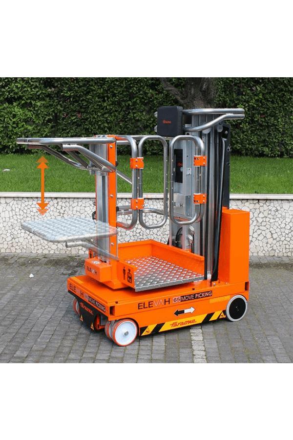 Toyota-Gabelstapler-ITL Lagertechnik Faraone Elevah 65 Move Picking Arbeitsbühne Hebebühne 2 Detailansicht