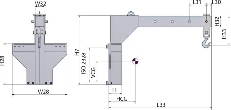 Kranarm manuell – Gabelzinken montiert GAB 1 Zeichnung
