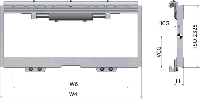 Seitenschieber mit Gleitstücken TRF FEM 1-2 Zeichnung