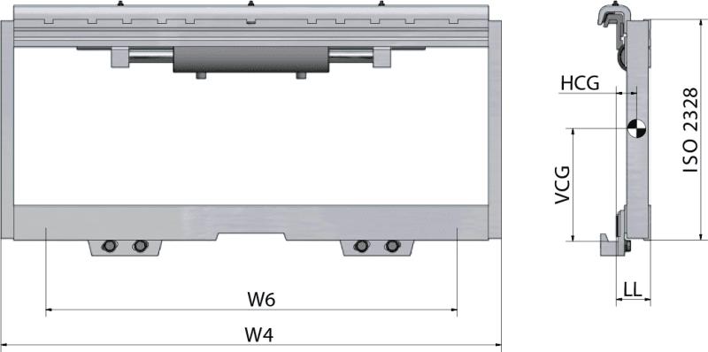 Seitenschieber mit Gleitstücken TRF FEM 3-4 Zeichnung