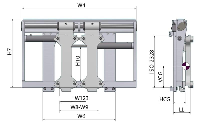 Toyota-Gabelstapler-Zinkenverstellgerät mit integriertem Seitenschieber und Wellengabelzinken PJA Zeichnung