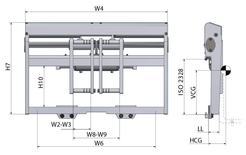 Zinkenverstellgerät mit Stangenmontiertem FEM Gabeltaschen mit Seitenschieber (PL-T) Zeichnung